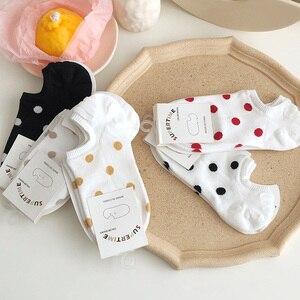 Image 5 - 5Pais/Lot Women Socks Short Cotton Aesthetic Novelty Dot Sweet Boat Socks Chaussette Femme Skarpety Kobieta Ankle Sock Woman