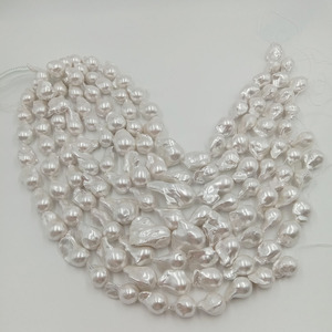 Image 2 - 16inch 100% freshwater loose pearl with  baroque shape in strand ,15 27 mm x 17 32 mm big baroque pearl . plated color