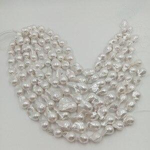 Image 2 - Perla suelta 100% de agua dulce de 16 pulgadas, con forma Barroca en hebra, Perla de Gran barroco de 15 27mm x 17 32mm. Color plateado