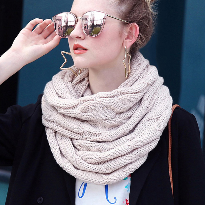 Snood Scarf Circle-Ring Neck Knitted Cashmere Warm Winter Fashion Snud Women For Infinity