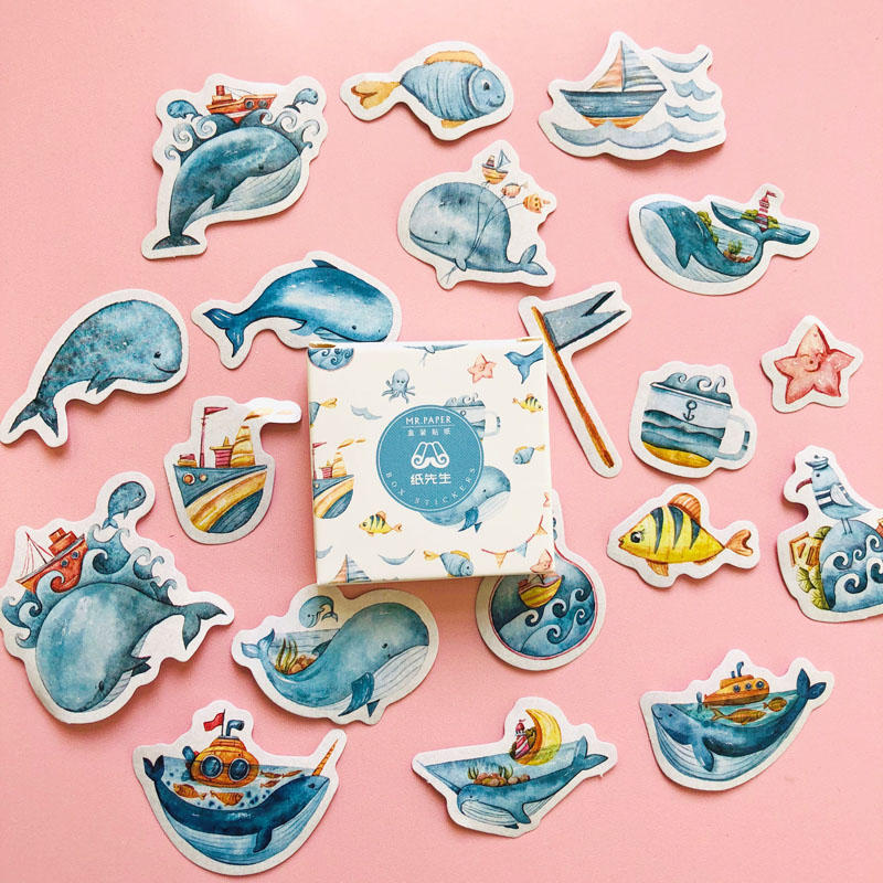 40 Pcs/Box Peace Whale Adhesive DIY Sticker Stick Label Notebook Album Decor