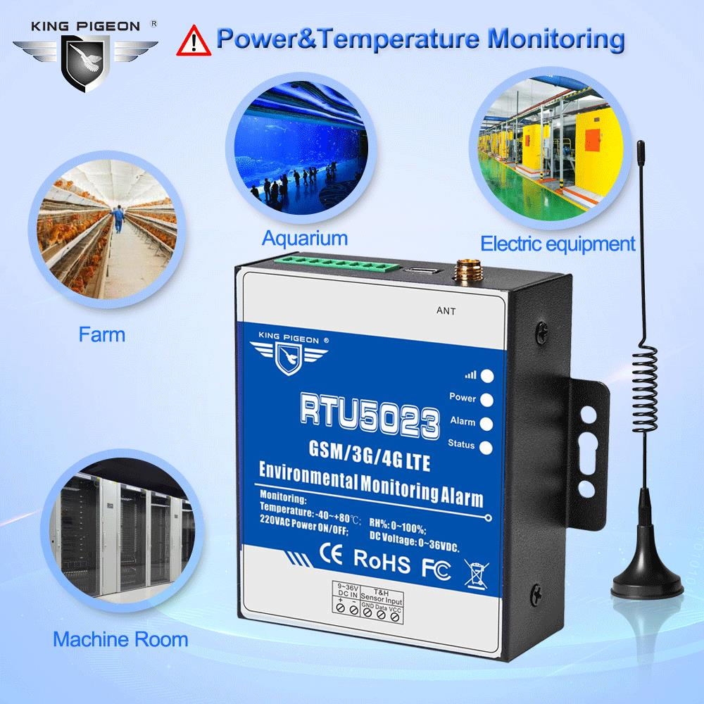 GSM Temperature Humidity Monitor AC/DC Power Lost Alarm Remote Monitor Support Timer Report APP Control RTU5023 GSM 3G 4G