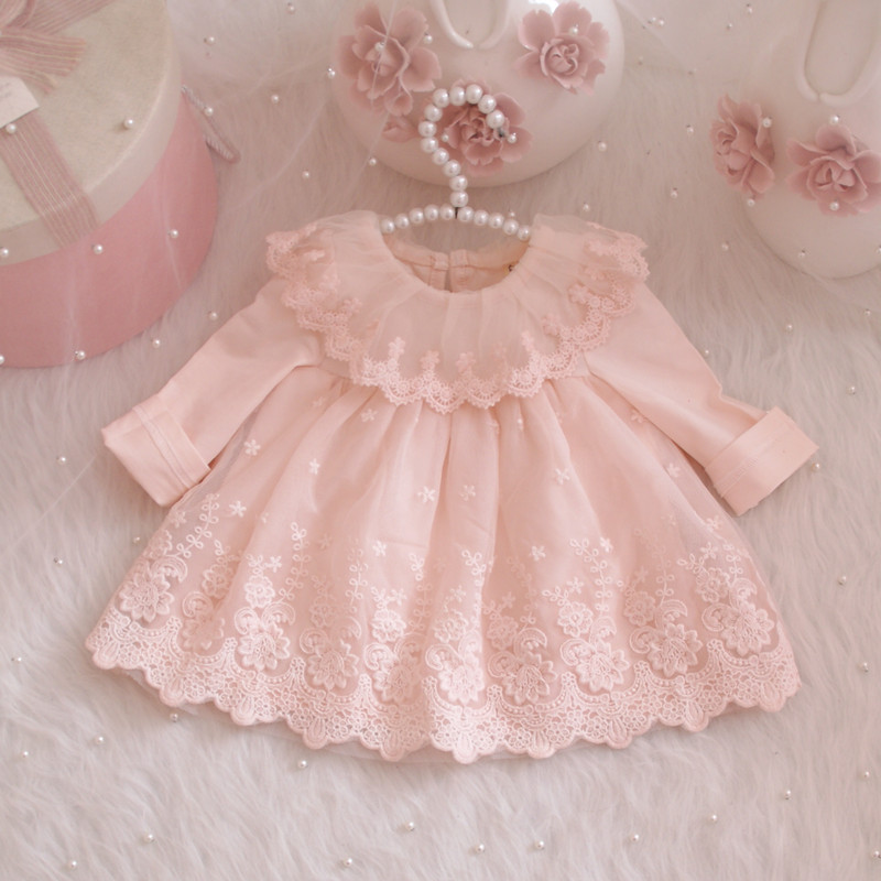 Girls Autumn Dresses Princess Wedding Ball Gown Dress Baby Girl Birthday Baptism Princess Lace Dress 0-24 Month