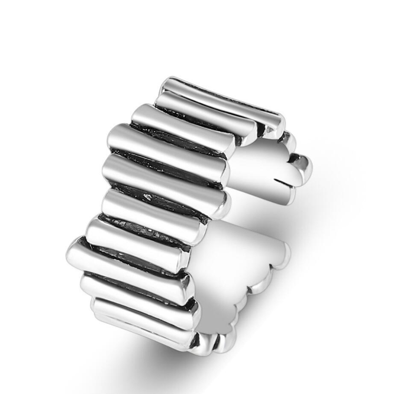 KOFSAC 925 Sterling Silver Ring For Women Jewelry Vintage Simple Thai Stripe Rings Girl Fashion Anniversary Accessories