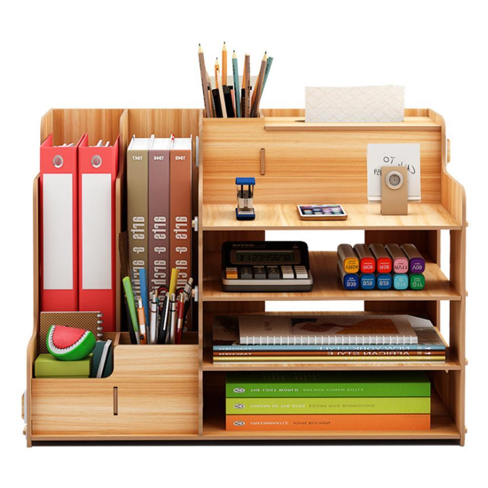 Wooden Desktop Organizer Light Weight Office Supplies Books Holder Paper Extraction Storage Box #CO