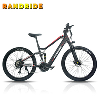 27.5inch electric bicycle SHIMANO disc brake e bike 48V11Ah full suspension electric mountain bike for mens 1