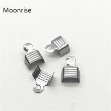 100Pcs/Lot Stainless Steel Fold Over Crimp Cord End Leather Ribbon End Clasp Tips End Clamp Connector Components Jewelry Making
