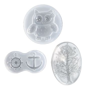 Tree owl ship rudder Necklace pendant Silicone Mold Resin Mould handmade DIY Jewelry Making epoxy resin molds