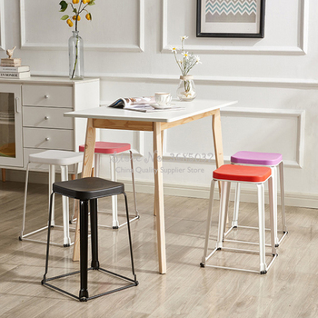 2pcs Stools Simple Stool Plastic Bench Household Low Stool Nordic Fashion Creative Thick Stool Stackable Dining Chair Multicolor