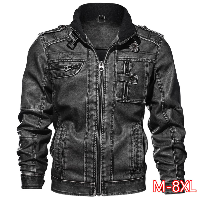 <font><b>7XL</b></font> Men's PU Jacket Leather <font><b>Coat</b></font> Autumn Slim Fit Faux Leather Motorcycle Jackets Male <font><b>Coats</b></font> Brand Clothing image