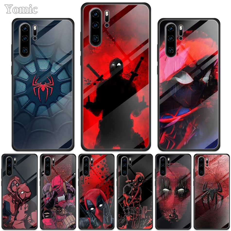 Marvel Deadpool Spider Case for <font><b>Huawei</b></font> P30 <font><b>P20</b></font> <font><b>Mate</b></font> 10 20 30 <font><b>Lite</b></font> Honor 20 9X Black Soft Edge Tempered Glass Phone Cover Coqu image