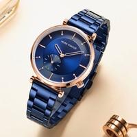 MINI FOCUS-relojes de lujo para mujer, pulsera de cuarzo de acero inoxidable, color azul, oro rosa, a la moda, nuevo