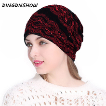 [DINGDNSHOW] 2019 Fashion Beanies Hat Cotton Skullies Winter Cap Striped Knitted Ladies for Women