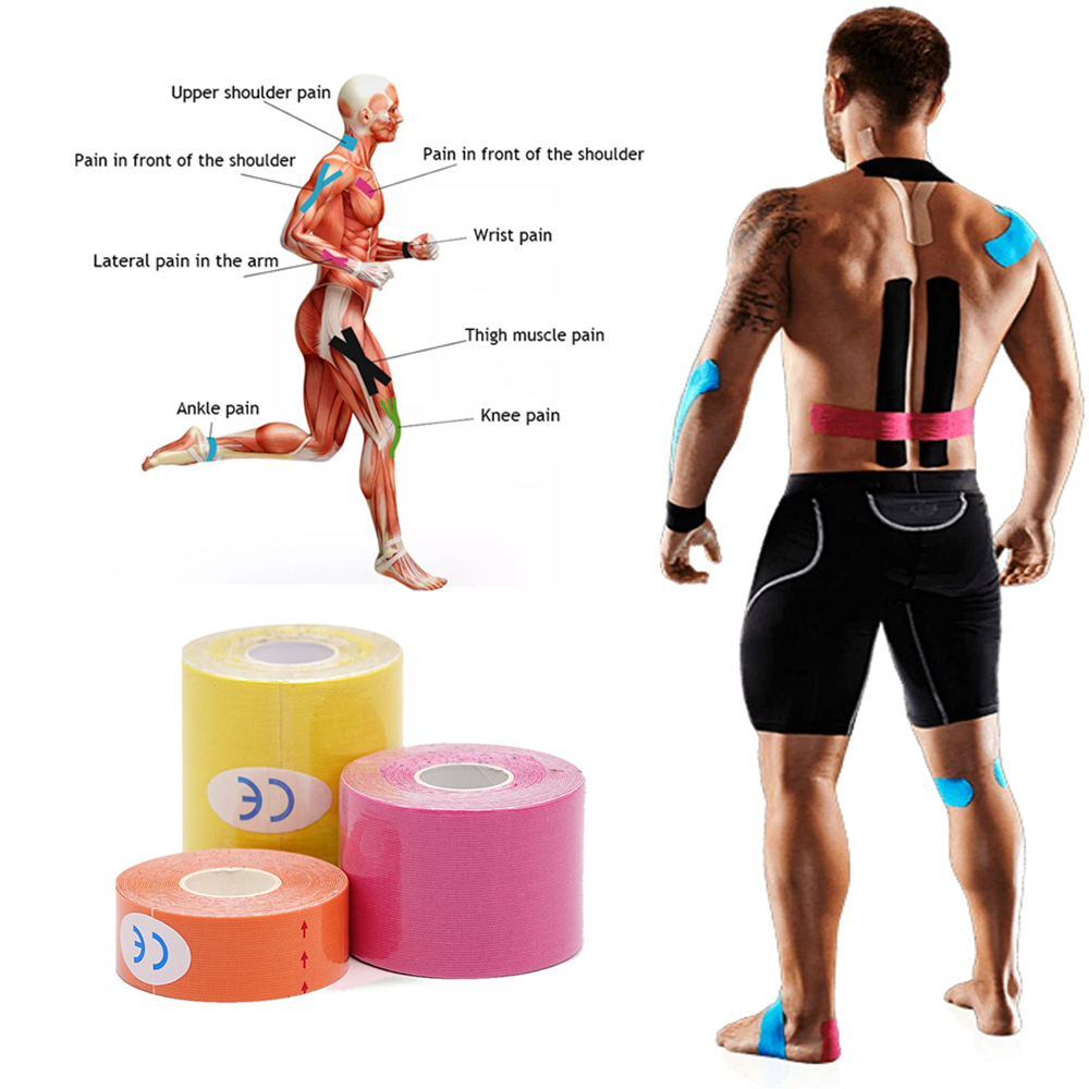 Elastic Cotton Muscle Physiotherapy Orthopedics Support Sports Kinesiology Tape Knee Shoulder Recovery Pain Relief