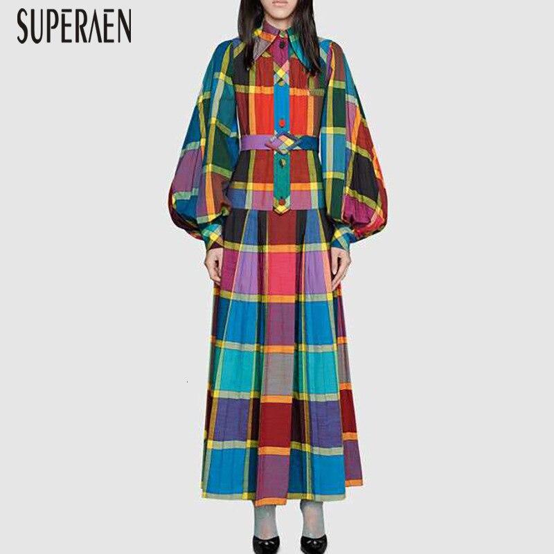 SuperAen Europe mode femmes robe longue 2020 printemps nouveau coton décontracté dames robe revers Plaid imprimer manches bouffantes femmes vêtements