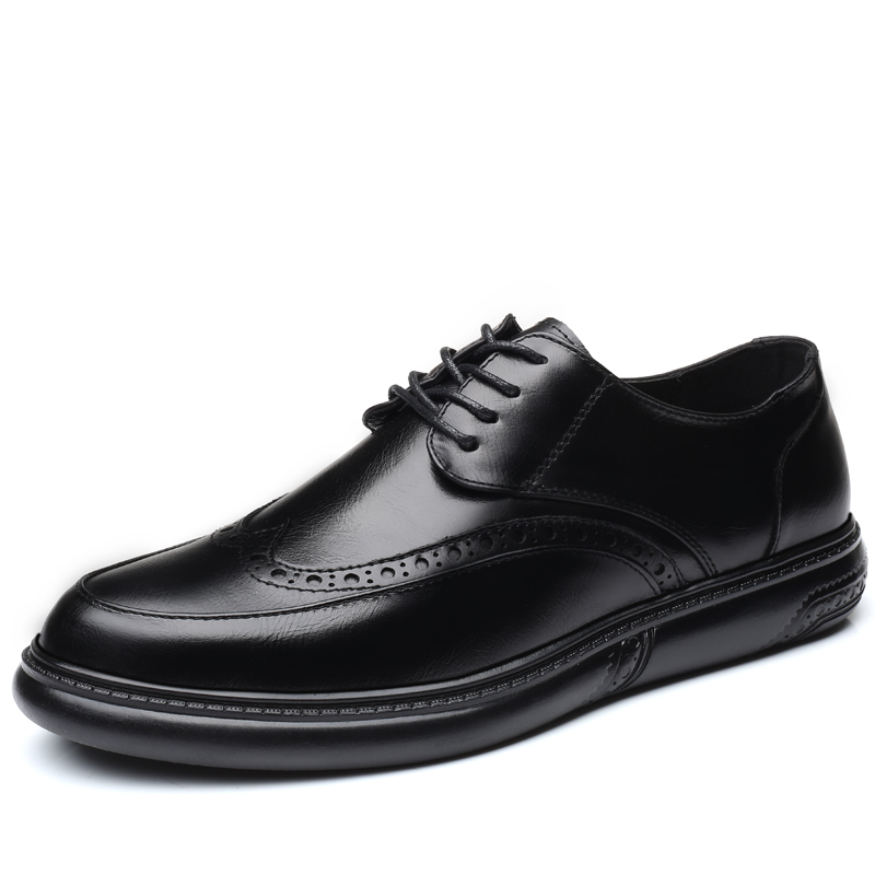 Men Dress Shoes Formal Wedding Leather Shoes Retro Brogue Business Office Men's Flats Oxfords