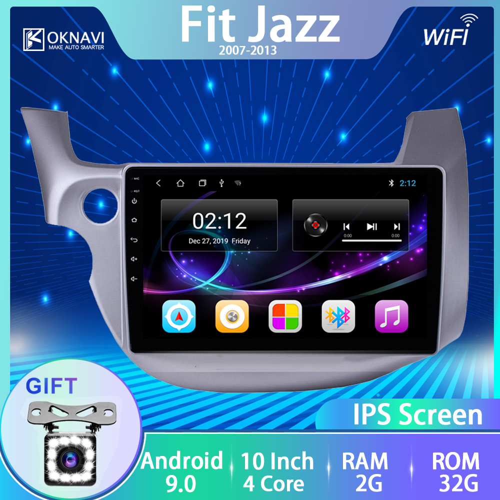 OKNAVI For <font><b>Honda</b></font> <font><b>Fit</b></font> Jazz 2007-2013 Radio Multimedia Player Touch Screen No 2 Din <font><b>Android</b></font> 9.0 Autoradio Support Rear View Camera image