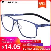 FONEX alaşım optik gözlük çerçeve erkekler Ultralight kare miyopi reçete gözlük erkek tam kore vidasız gözlük 983