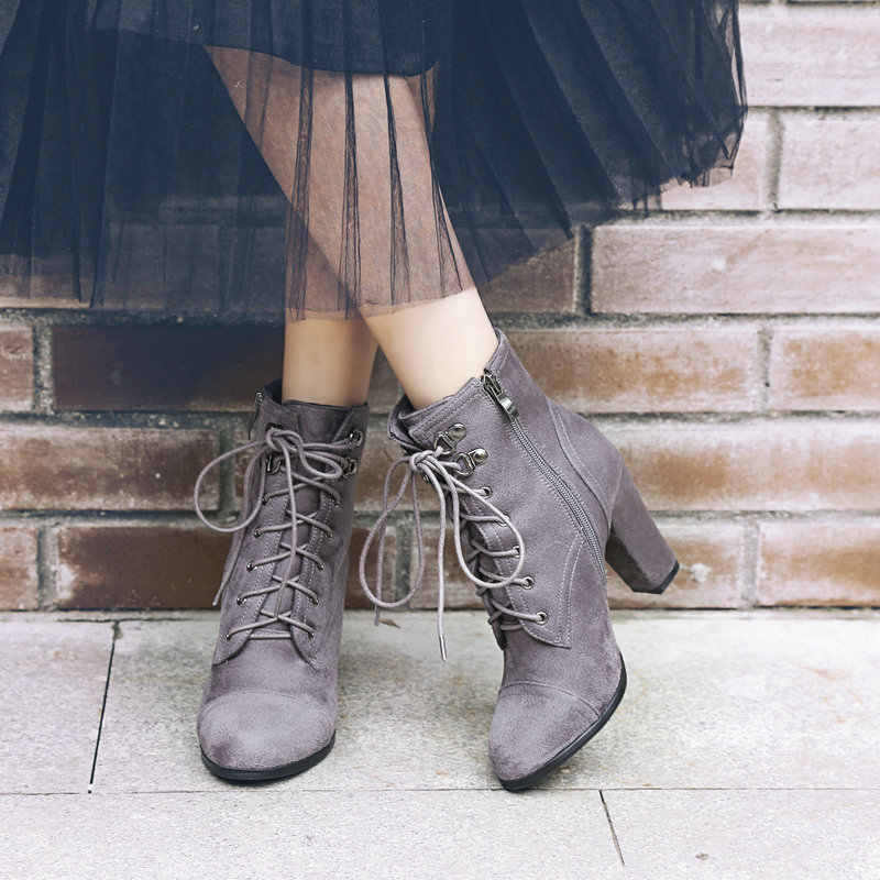 Sahte Süet Tıknaz Yüksek Topuklu Çizmeler Fermuar Sıcak Kış yarım çizmeler Kadın Ayakkabı için Yeşil Siyah Gri Haki kısa çizmeler 2019