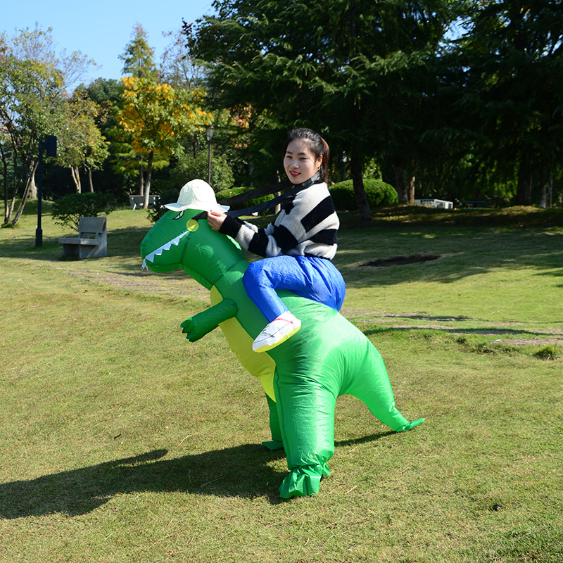 Kids Adult Dinosaur Inflatable Costume Suit Funny Blow Up Suit Party Tyrannosaurus Rex Fancy Cosplay Mascot Costume Halloween