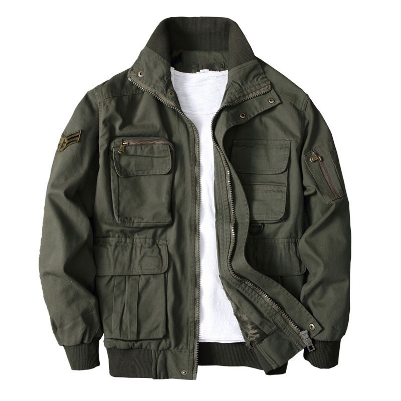 Autumn New Men Camouflage Military Jacket Multi Pockets Army Fleece Lining Coat Stand Collar Loose Casual Tactical Bomber Jacket