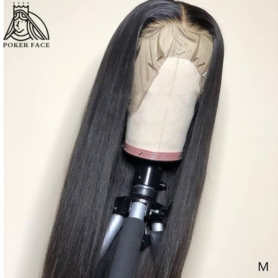 Poker Face 8- 28 30 32 34 inches Straight 13x6 Lace Front Human Hair Wigs  Brazilian Lace Frontal Wig Remy 150 Density