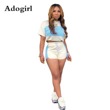 Adogirl Women Casual 2 Piece Set Pullover Hooded Short Sleeve Crop Top and Drawstring Shorts Two Piece Sporting Tracksuit Outfit hooded crop top and drawstring camo pants