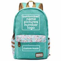 Customized Print DIY Your Like Photo or Logo Boy Girl Book Bag Women Bagpack Teenagers Canvas Lady Femme Backpack School Bag