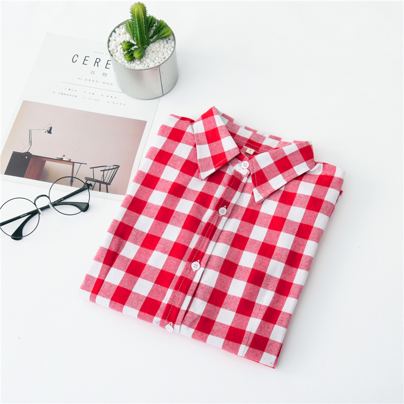 2020 New Women Blouses Brand New Excellent Quality Cotton 32style Plaid Shirt Women Casual Long Sleeve Shirt Tops Lady Clothes 36