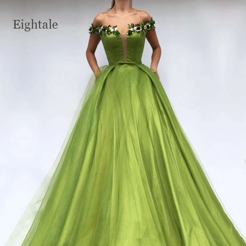 Lime Green Evening Dresses Off the Shoulder Handmade Flowers A-Line Arabic Prom Gown Party Dress for Graduation