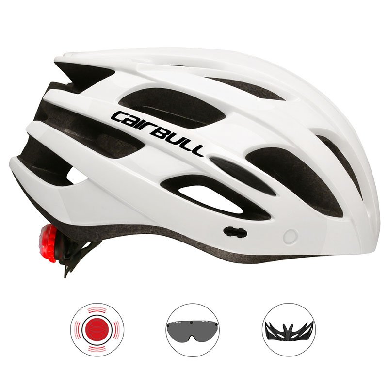 Racing Cycling Helmet with Removable TT Lens & Visor XC DH MTB Bicycle Helmet with Taillight In-mold Road Mountain Bike Helmet image