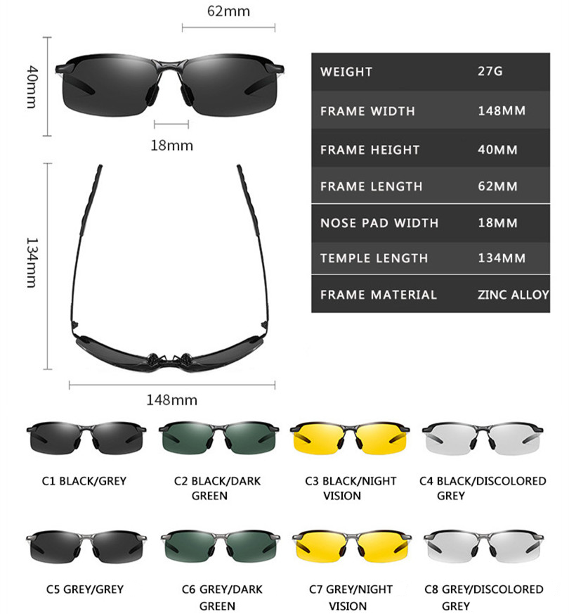 Photochromic Sunglasses Men Polarized Chameleon Glasses Male Change Color Sun Glasses Day Night Vision Driving Eyewear uv400 Hca9fbc18f2944ba695763c47e46daf4aP
