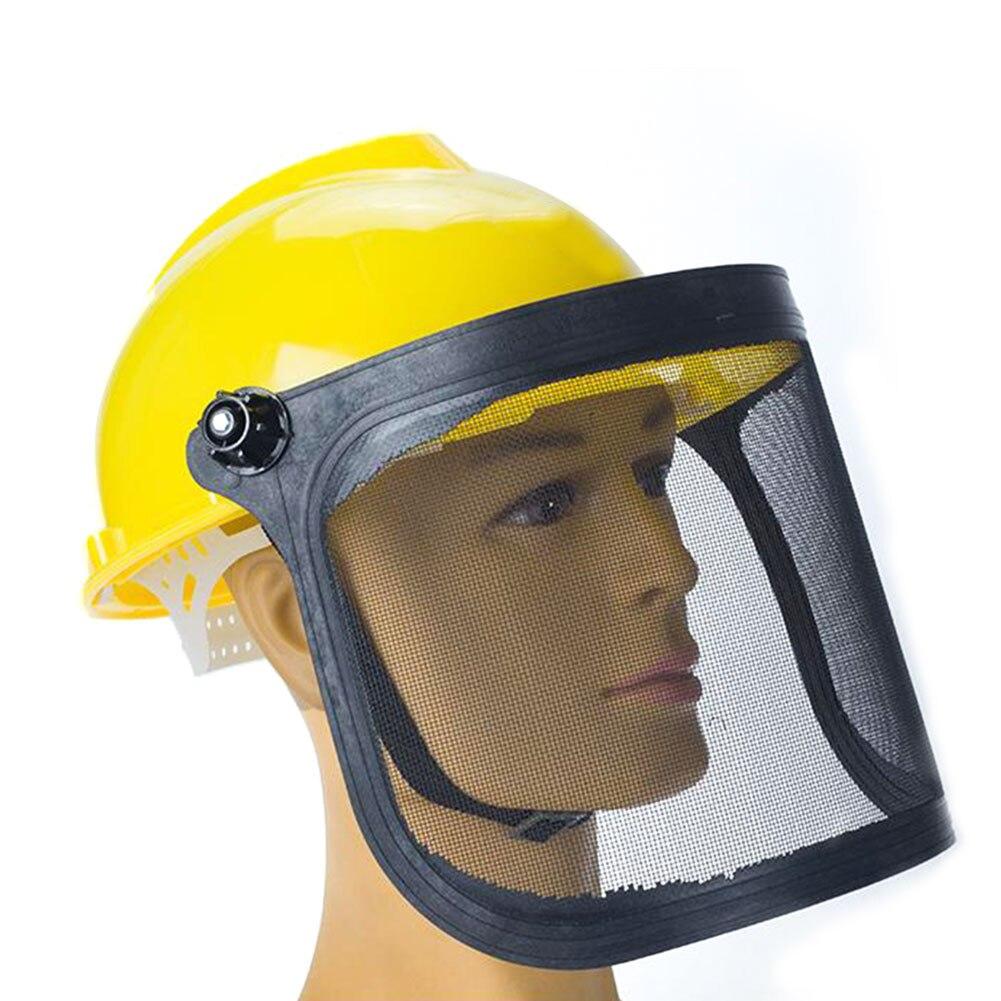 Hca9fbe7130044bfe89f0871dc8ced698U Full Face Mesh Grass Trimmer Helmet Outdoor Protective Mask Metal Visor Workplace Garden Ear Defenders 180 Degrees Adjustable