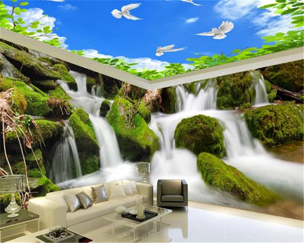Customized House Decoration HD 3d Wallpaper Waterfall Flying Pigeons Beautiful Living Room Bedroom Decoration Wall Paper