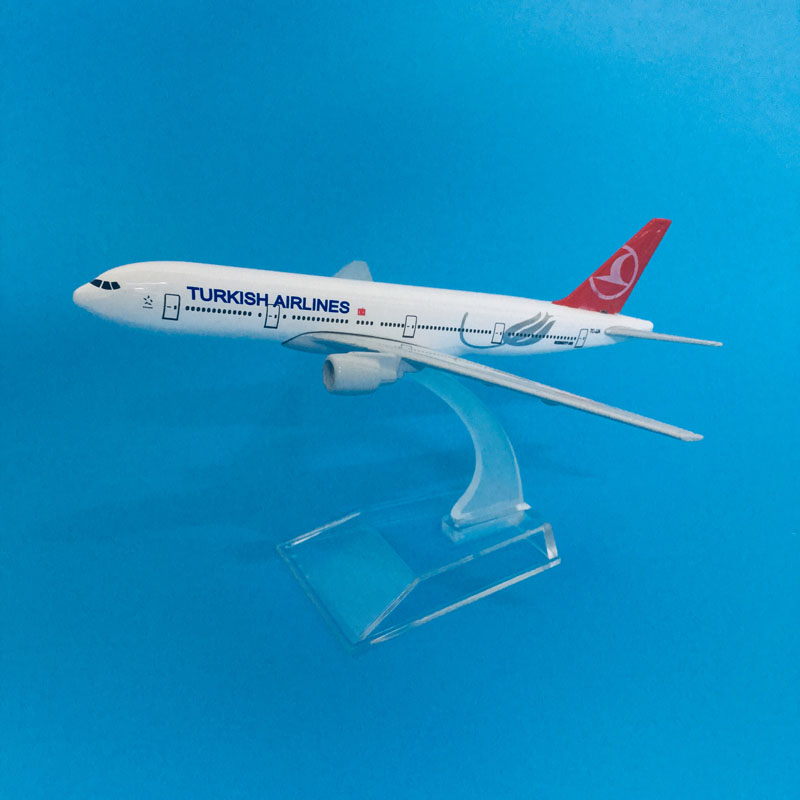16cm Plane Model Airplane Model Turkish Airlines Boeing 777 Aircraft Model Diecast Metal Airplanes Model 1:400 Plane Toy Gift