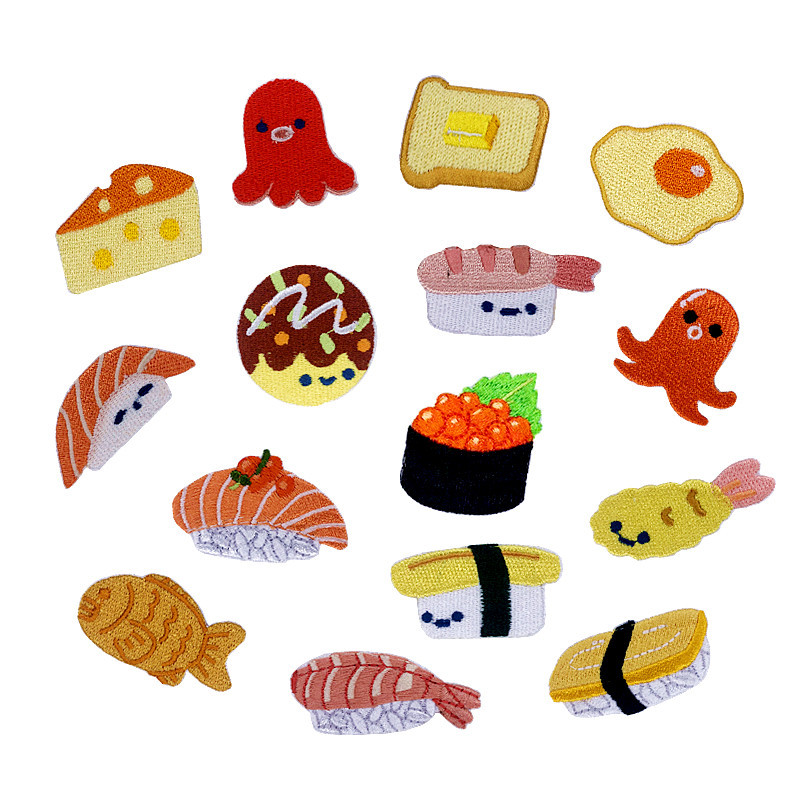 1PCS New Doughnut Salmon Sushi Small Octopus Food Embroidery Honey Peach Patches For Clothing Iron Kids Clothes Appliques Badge