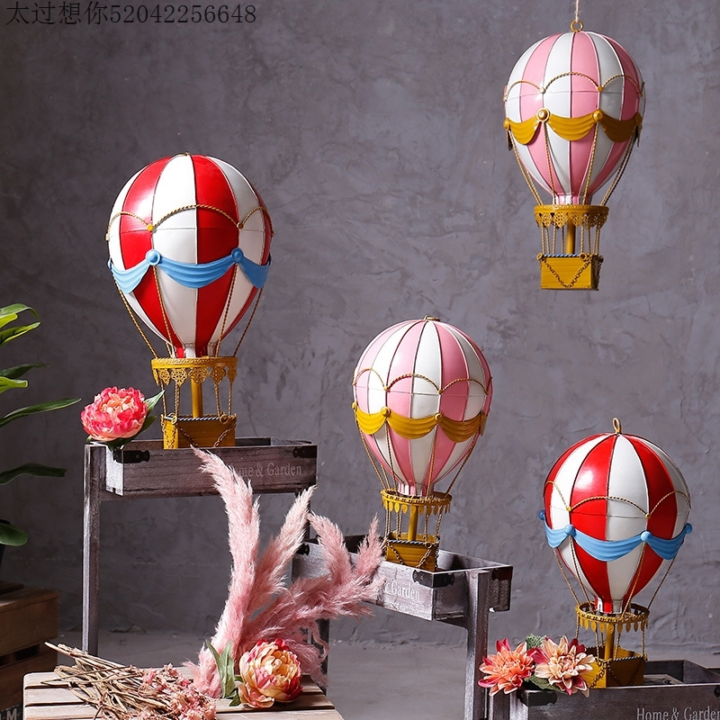 Creative Vintage Color Metal Wrought Balloon Wall Statue Home Crafts Room Decoration Office Iron Hot Air Balloon Wall Figurines