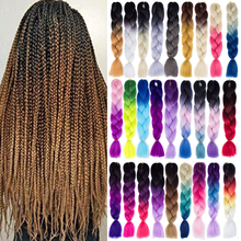 Kong&Li Ombre Jumbo Synthetic Braiding Hair 24 Inch Jumbo Braids Pink Blonde Green Grey Two Tone Color Yaki Hair Extension