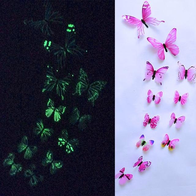 12pcs Luminous Butterfly Design Decal Art Wall Stickers Room Butterflies Home Decor DIY Stickers 3D Fridge Wallpaper Decoration 4