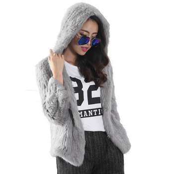 Hood Long New Fashion Women Real Rabbit Fur Knit Jacket Coat Plus size coat color image