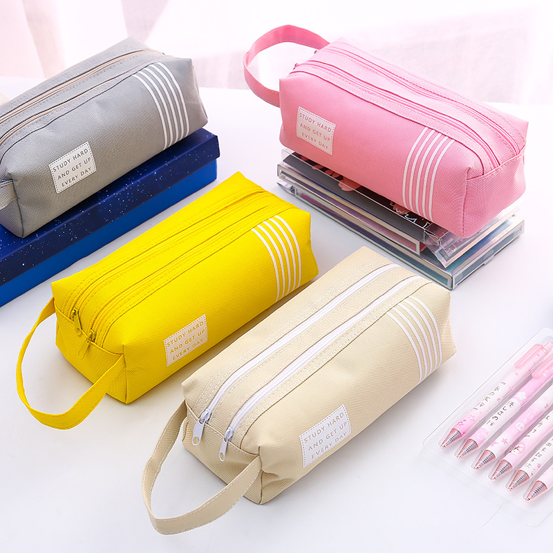 Double Zipper Large Pencil Case Kawaii School Pencilcase Canvas Big Pen Box For Girls Cute Stationery Supplies Pencil Bag Etui