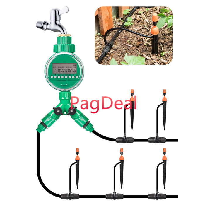 Auto Drip Irrigation 20M 8/11 Hose DIY Watering Irrigation System Auto Manual Timer Dripping Spray Sprinkler Free Shipping|Watering Kits|   - title=