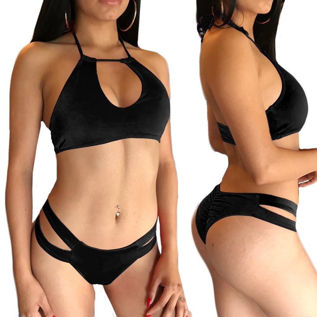 Exotic Set Temptating Velvet Novelty Women Sexy Lingerie Underwear Plus Size Pure Color Bandage Bra Set S-3XL Adult Sex Toys