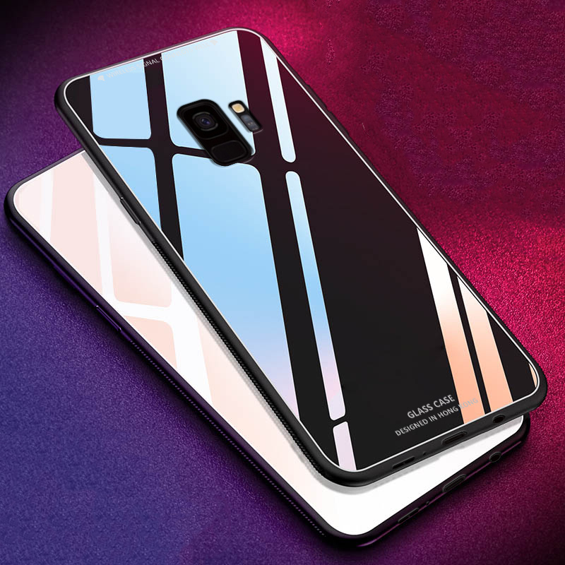 KEYSION Glossy Tempered Glass Case For Samsung S10 S9 S8 Plus S10e A50 A70 A80 A30 A20 Case Soft TPU Edge Hard Glass Back Cover in Fitted Cases from Cellphones Telecommunications