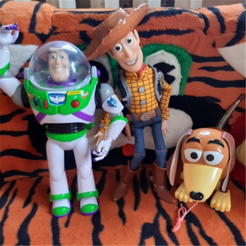 30CM Toy --Story Talking Buzz Lightyear Woody Jessie Slinky Dog Action Figure Model Toy Doll Birthday Christmas For Kids Gift