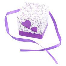 50x фиолетовая коробка саше бумаги Драже крещение свадебный подарок