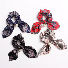Bohemian Chiffon Flower Shrink Scarf Hair Band Ponytail Entrainment Bow Floral Print Hair Bundle Rope Hair Accessories Headband(China)