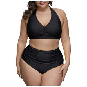 2020 Solid Color Plus Size Bikini Set Women High Waist Swimsuit 4xl Fat Feminine Big Bra Two Piece Bikini Push Up Beach Wear 04(China)