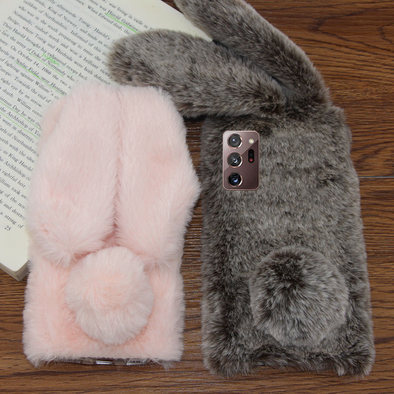 For Samsung Galaxy Note 20 Ultra Phone Case Fluffy Rabbit Ears Plush For Galaxy S20 Plus Soft Silicone Shockproof Back Cover|Fitted Cases| - AliExpress