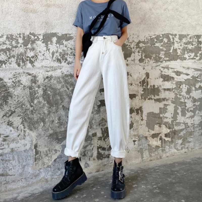 Woman Jeans High Waist Clothes Wide Leg Denim Clothing White Streetwear Vintage Quality 2020 Fashion Harajuku Straight Pants